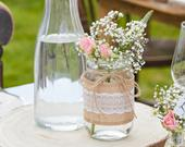 Hessian Wrapped Glass Jars Wedding Jars Rustic Wedding Decorations Country Wedding Decor Wedding Centrepieces