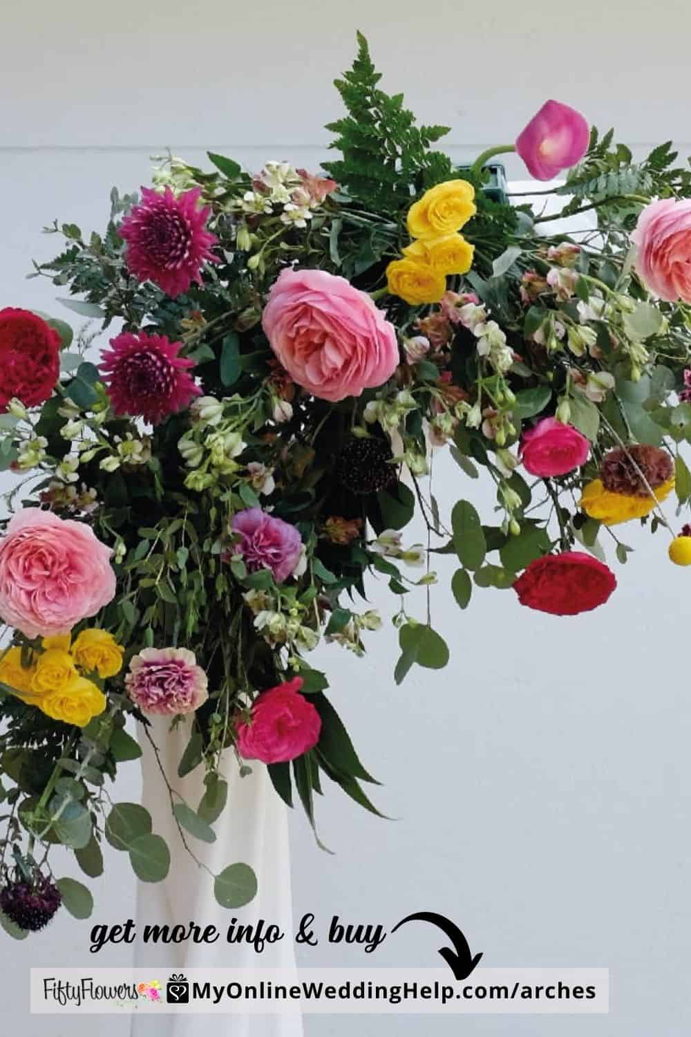 DIY Wedding Arch. Enchanted Summer with a variety of flowers and foliage.