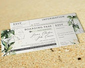 Boarding Pass Wedding Invitation, Botanical Wedding Invitations, Destination Travel Invites, Abroad Beach Wedding