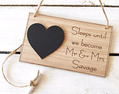 Oak Wedding Countdown Plaque Sign Personalised Chalkboard Mr Mrs Engagement Gift