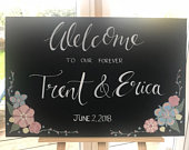 Hand painted Wedding Sign. Rustic wedding, Chalkboard sign, wedding announcement, boho, wedding decoration, welcome sign, wedding greeting,