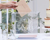 Clear Acrylic Wedding Post Box, Wedding Cards Box, Party Cards Box, Rustic Wedding Decorations, White Script Post Box, Baby Shower Cards Box