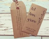 Let love grow wedding favour Pack of 10 SEEDS INCLUDED Wildflower seed wedding favour Rustic wedding favour