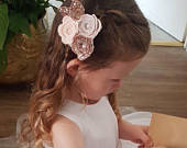 Flower headband, rose cluster, rose gold bow, baby/girl headband, wedding hair, hair accessories, cake smash prop
