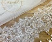 79 Wedding Veil French Lace Edge Single Layer, Soft Tulle Wedding Veil, 79 inches, 200 cm Ivory Veil, Floor Length, Lace Veil