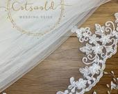 43 Bridal Wedding Veil, Beaded Lace Edge Single Layer Soft Tulle Wedding Veil with a Lace edge 43, 110cm Ivory Veil Fingertip