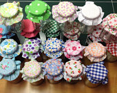 fabric jam lid tops Wedding lid covers X 50 Assorted mixed will fit lid tops between 5373mm