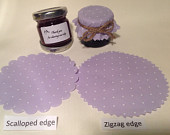 Jam jar covers Wedding X 50 twine/bands/labels 3 sizes avalible Scalloped or zig zag