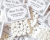 Personalised Wedding Favours Mint To Be White Mint Hearts