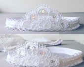 Baby tiara hair band for baptism, christening, lace and sequins white baby girl headband, newborn tiara head piece wedding crown
