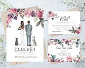 Couple Portrait Wedding Invitations Suite Package RSVP Pastel Floral Save the Date Cards Family Pet Portrait Illustration Pastel