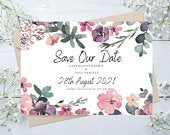 Pastel Floral Save The Date Cards Save Our Date Cards Wedding Invitations Eucalyptus Design Pastel Wedding Cards Greenery Boho