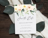 Peach and Ivory Floral Save the Date Card Template, Printable Save the Date, Editable Save the Date, Instant Download, 026S