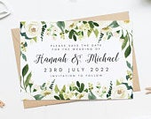 Floral Save The Date Card, Summer Save The Date, Flowers Wedding Invite, Watercolor Save Our Date Card, Pretty Save The Date, Floral Wedding