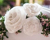 Pretty White Rolled Lace Flowers Pack Of 12