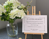 White Personalised Wedding Sign Unframed In Memory