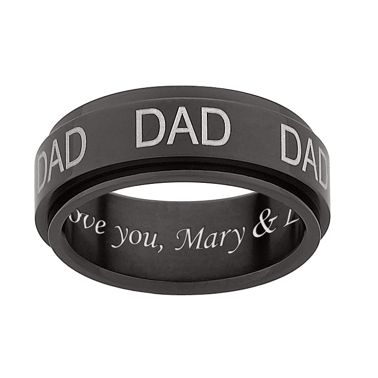 Black Titanium DAD Engraved Spinner Band