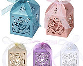 50pcs Laser Cut Wedding Hollow Love Heart Wedding Favor Candy Gifts Boxes Ivory White