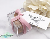 Acrylic Box Favour/Favor Wedding Gift with Personalised Tag and Choice of Ribbon Colour