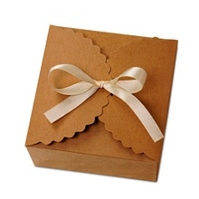 Kraft Flower Edge Box - 4-1/2 X 4-1/2 X 2-1/2 - Satin - Quantity: 25 - Favor Boxes by Paper Mart