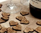 Personalised Wooden Love Heart Table Decorations, Rustic Vintage Wedding Favours. Made from Solid Hardwood. Mr Mrs Bespoke Table Confetti.