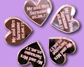 50 x Personalised Heart Confetti Acrylic Heart Scatter Sprinkles Engagement Wedding Table Party Decoration Scatter Confetti Rose Gold