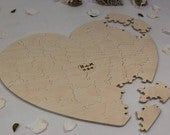 Heart Shaped Puzzle Wooden Alternative Guest Book For weddings and other occasions Cut by Hand Engraving and signing pen included