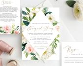 Blush Floral Wedding Invitation Template, Digital Download, Faux Gold Greenery Wedding Invite, INSTANT DOWNLOAD, Editable, Online, BL56GR