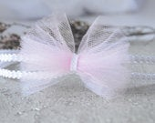 Baby pink headband, new baby hair band for christening, baptism, wedding headpiece tulle and lace little bow double layer skinny headband