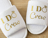 Bridesmaid Slippers Personalised I Do Crew Wedding Slippers Bride, Bridesmaid Gift, Bridal Party , Hen Open Toes Spa Slippers 28 colours