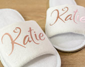 Name Bridesmaid slippers Personalised Wedding Slippers name Bride, Bridesmaid Gift, Bridal Party , Hen Open Toes Spa Slippers 28 colour