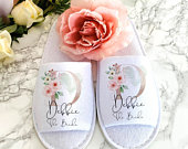 Wedding Slippers, Bride Slippers, Bridesmaid Slippers, Hen Night, Wedding Gift, Bridesmaid Gift, Flower Girl, Bridal Party Spa Slippers