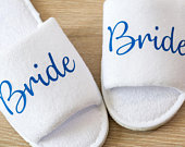 Bride Slippers Personalised Wedding Slippers, Bridesmaid Gift, Bridal Party , Hen Weekend Open Toes Spa Slippers 29 colours to choose from