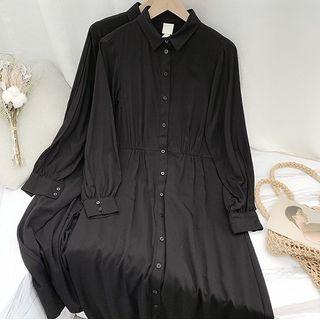 Long-sleeve Midi A-Line Shirt Dress