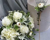 Artificial Flower Package White Green Rustic Elegant Flowers bridal bouquet, buttonholes, coursages, bridesmaid flowers, flowergirl wands