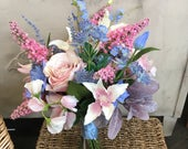 Wedding, rustic, boho bouquet, pale pink and blue