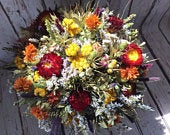 Dried Flower Bouquet. Autumnal Shades Woodland Wedding flowers bride bridal or bridesmaid