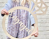 Giant Wooden Engagement Ring Sign Can Be Personalised Engagement Party Decor Hen Party Sign Engagement Sign Bachelorette Party Prop