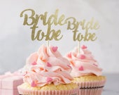 Bride to be cupcake topper, 12 pieces, hen party decor, engagement, bride to be, bridal shower, wedding cupcake toppers, Bachelorette party