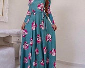 Long floral maxi dress comes with a belt