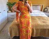 Vintage 1960s Bright Yellow and Orange Floral Made in Hawaii Maxi Dress