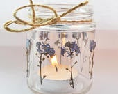 Forget me knot mason jar, forget me knot candle holder, wedding jar, flower lantern, wedding tea light, flower mason jar, small mason jar