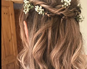 Dried Flower Gypsophila hair pins/hair picks/Babys breath hair pins/Flower Pins