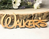 Wedding Place Names In Disney Style Font Place Cards Wooden Guest Names Natural Finish Rustic Finish
