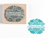 Mexican Flowers Decorative Stamp, Personalised Custom Stamp, Address Stamp, Wedding Stamp, Book Stamp