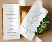 Modern Wedding Program Template, Script Order of Service, Printable Ceremony, Minimalist Calligraphy, Instant Download, Editable Text M05S