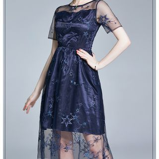 Lace Panel Short-Sleeve A-Line Party Dress