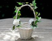 Ivy And Garden Rose White Flower Girl Basket For Petals Wedding Flower Girl Basket Confetti Basket Hand Decorated With Faux Flowers