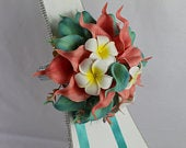 Artificial Jade Coral Beach wedding bouquet singles and packages