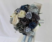 Artificial Ice Blue, Teal, Grey and Ivory Wedding Bouquet Singles Packages